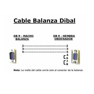 CABLE DE BALANZA DIBAL A TPV/PC 1,5 m. DB9M<>DB9H